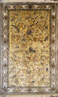 Qum Antique Silk Tree of Life Silk Persian Rug - Item# BG-3118  Size: 138 x 230 (cm)      4' 6 x 7' 6 (ft) Origin: Persian, Qum (Qom) Foundation: Silk Material: Silk Weave: 100% Hand Woven Age: Old KPSI: 600