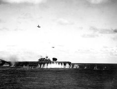 USS Hornet during the battle of Santa Cruz. US Navy Photo