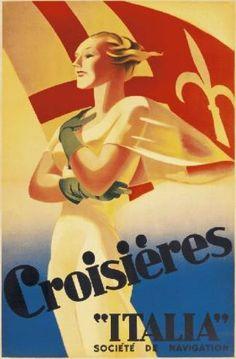 Poster by Marcello Dudovich, ca 1938, Crosières Italia. (I)