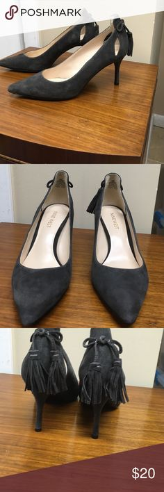 Nine West Suede Pump with Cutouts and Tassels Love to be so much I bought in black and gray. Unfortunately I bought the wrong size. They're very comfortable. Worn a few times. Nine West Shoes Heels