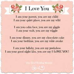 i love you - mother & child sayings