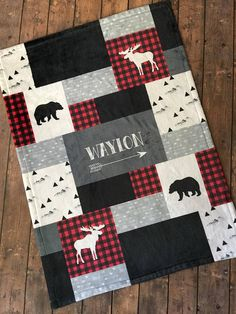 SALE Personalized Baby Blanket Quilt Red and Black Woodland Lumber Jack Little Man Buffalo Plaid Bear Moose Baby Dear Fleece Easy Baby Blanket, Fleece Baby Blankets, Toddler Blanket, Receiving Blankets, Plaid Quilt, Rag Quilt, Moose Quilt, Quilt Baby, Baby Quilts For Boys