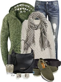 Polish the Edges van colierollers met silver jewelry ❤ liked on PolyvoreChristopher fischer sweater / Wet Seal jeans / TOMS canvas shoes / MICHAEL Michael Kors leather purse / Eddie Borgo silver jewelry / J Crew scarve / Uniqlo leather belt / Opi nail polish,