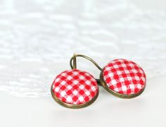 Red Leverback Earrings - Red and White Gingham - Summer Berries Fresh Fabric Covered Buttons Earrings Fabric Covered Button, Covered Buttons, Etsy Jewelry, Jewellery, Summer Berries, Button Earrings, Vintage Holiday, Different Fabrics, Holidays And Events