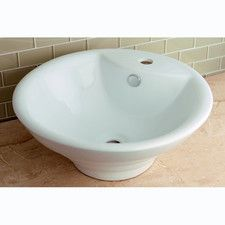 Ripple China Vessel Bathroom Sink with Overflow Hole and Faucet Hole