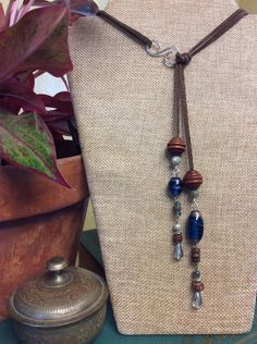 9828cf76d Dark Brown Leather Lariat-Style Necklace with Sterling Attacher and Wood,  Crystal, Glass, Labradorite, and Jasper Accents