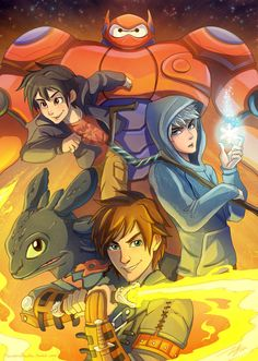 AWESOME <3 BEST PICTURE EVER *O* JACK, BAYMAX AND TOOTHLESS <3 Hiro and hiccup too~