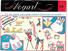 Vogart Transfer Pattern 156  Embroidery by VintageNecessities (Craft Supplies & Tools, Patterns & Tutorials, Sewing & Needlecraft, Sewing, sewing, patterns, vintage, 1940s, unused, antique, embroidery, childrens, iron on transfers, vogart, colors, animals, circus)