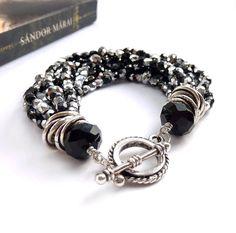 Black Multistrand Bracelet Silver Elegant by RockStoneTreasures, $42.00