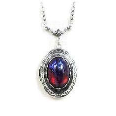 Fire Opal Locket Necklace Dragons Breath