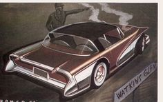 Homer LaGassey Rendering, c early 1950s. Sports coupe with Buick Wildcat show car overtones.