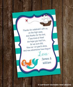 Hey, I found this really awesome Etsy listing at https://www.etsy.com/listing/291933009/mermaid-pirate-thank-you-card-printable