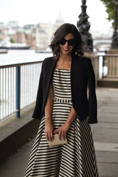 Love anything striped, the fit of this dress, and the classic structured black blazer.