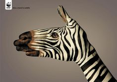 "The WWF ""Give A Hand to Wildlife"" campaign (2008) was developed at Saatchi & Saatchi Simko, Geneva, by creative director Olivier Girard, copywriter Jean-Michael Larsen, art director Nicolas Poulain, with body painter Guido Daniele."