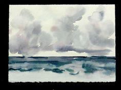 Rain Clouds At Sea Watercolor Original Wall Art by DreamON on Etsy