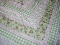 Pink and Green Cot Bed Fairy Quilt : This quilt is very popular and I have made it in all sizes from King Size to child's hand held comforter!