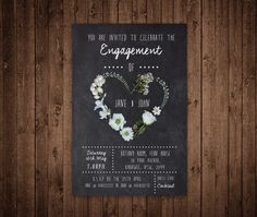 Engagement Invitation  Custom Digital File by PaperCraneDigitals