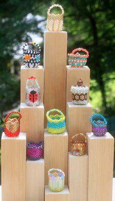 Miniature beaded baskets