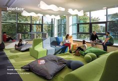 """Research suggests that students need to be comfortable to learn. """"That includes ergonomic seating and other furnishings, ample daylight, lots of fresh air, and well-designed artificial lighting and acoustics (Persaud, Commercial Carpet Tiles, Commercial Flooring, Luxury Vinyl Tile, Learning Spaces, Classroom Design, Vinyl Flooring, Beautiful Interiors, Bean Bag Chair, Education"""