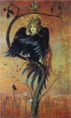 Gamaun, The prophetic bird - Viktor Vasnetsov  Reminds me of the bird always at my window trying to get in