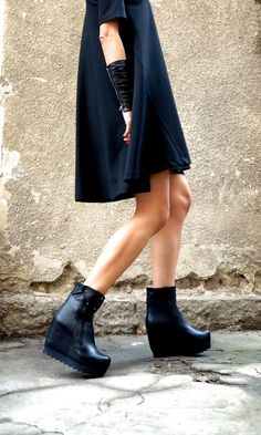 8d737a46b62e Black Genuine Leather Ankle Boot Wedges A21388