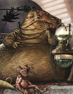 """Star Wars: Jabba Desilijic Tiure """"Jabba the Hutt"""" and Salacious B. Crumb b Star Wars Halloween, Star Wars Episoden, Star Wars Kids, Starwars, Star Wars Personajes, Jabba The Hutt, Kino Film, Magazine Illustration, Star Wars Poster"""