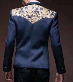 Majestic Royalty Golden Floral Print Navy Blue Fashionable blazer