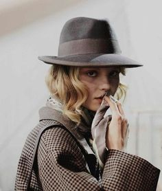menswear-inspired prints and fedora