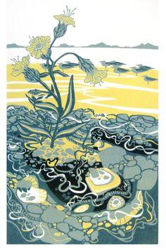Sea Campion and Gulls linocut (unframed), Liz Myhill Art And Illustration, Illustrations, Graphic Prints, Art Prints, Block Prints, Encaustic Painting, Tampons, Aboriginal Art, Linocut Prints