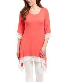 Another great find on #zulily! Coral Crochet-Hem Sidetail Tunic - Women & Plus #zulilyfinds