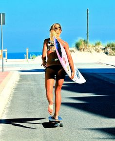 """Barefoot skating to the shore to look for a spot for a surf day... That would be my definition of a perfect """"Endless Summer""""."""