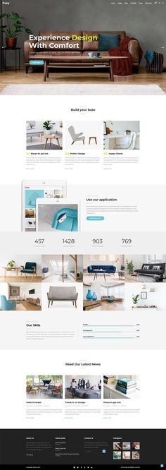 Introduce every aspect of your interior design business in a truly stunning manner with Cozy WordPress theme. Interior Design Themes, Interior Design Business, Layout Design, Web Design, House Design, Creative Portfolio, Wordpress Theme, Cozy, Studio