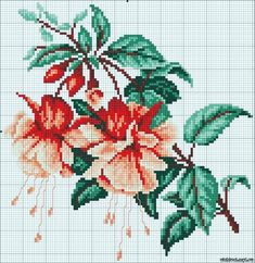 Fuchsia II - cross stitch kit, manufactured by RTO. Cross Stitch Borders, Cross Stitch Flowers, Cross Stitch Kits, Cross Stitch Charts, Cross Stitch Designs, Cross Stitching, Cross Stitch Embroidery, Cross Stitch Patterns, Embroidery Flowers Pattern