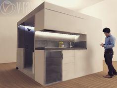 KEUB regroupe toutes les commodités nécessaire à l'habitat dans 9m2. #architecture #interieur #paris #design #gaindespace #4en1 #cube #cuisine #chambre #salledebain #wc by k.e.u.b