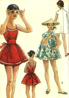 Vintage 60s Simplicity 1627 Misses UNCUT Maternity Swimsuit, Playsuit and Beach Coat Coverup Sewing Pattern  Size 16 Bust 34.  Attractive…