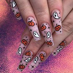 Holloween Nails, Halloween Acrylic Nails, Cute Halloween Nails, Halloween Nail Designs, Best Acrylic Nails, Acrylic Nail Designs, Halloween Press On Nails, Acrylic Nail Art, Funky Nails