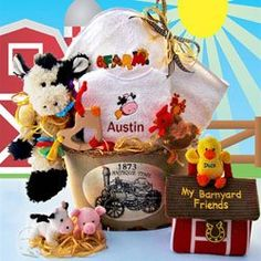 Barnyard Buddies Baby Gift Basket Guaranteed on-time delivery or your money back. For personalization - add the baby's name to the gift card. Personalization is included in our price.  #BabyGiftBasket #BabyProduct