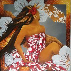 """Impression"" 80x80 expo 2015  Mov. Polynesian Art, Polynesian Culture, Inspiration Art, Hawaiian Art, Hula Dancers, Exotic Art, Black Artwork, Vintage Hawaii, Cultural"