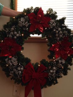 Red and silver Christmas wreath. That would be pretty with lights too. Silver Christmas, Christmas Door, Christmas Time, Merry Christmas, Christmas Ornament Wreath, Holiday Wreaths, Holiday Decor, Xmas Decorations, Christmas Crafts