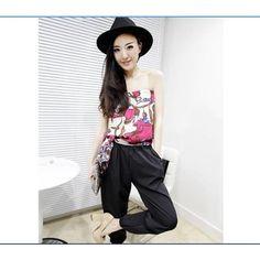 Popular Color Block Off Shoulder Chiffon Jump suit Black via Polyvore