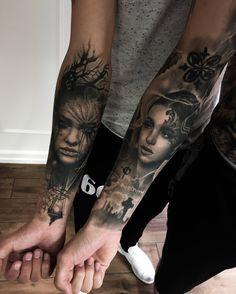 women portraits underarm tattoo realism realistic tattoos