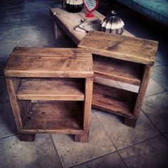 bedside cabinets made from #reclaimed #scaffolding #boards