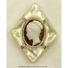 """""""Perla"""" Carved Cassis Madagascarienis Shell Cameo Pendant/Brooch, Mounted In 18k Solid White Gold And Mother Of Pearl, Surrounded With Diamonds....This is breathtaking!"""