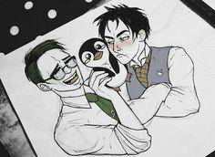 Come on Oswald, Ed bought you a little penguin friend! KISS him at least Gotham Comics, Gotham Villains, Gotham Tv, Dc Comics, Penguin And Riddler, Penguin Gotham, Cute Batman, Batman Art, Yuri