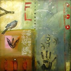 """fly now, mixed media on canvas, 24x24"""", Sheila Norgate"""