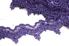 Eggplant Purple Beaded Lace Trim. Deep Purple. by OneStopTrims