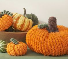 Get the free pumpkin pattern at http://www.yarnspirations.com/pumpkins.html