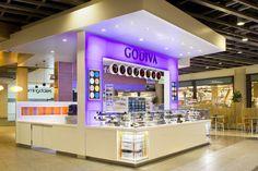 Godiva 'Truffle Express' kiosk by dash design, New York Kiosk Design, Retail Design, Cafe Design, Bakery Design, Signage Design, Visual Merchandising, Mall Kiosk, Kiosk Store, Restaurants