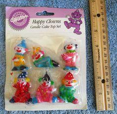 Vintage Wilton Happy Clowns Candle Cake Top Set 1990 2811-511 #Wilton