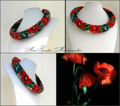 """Necklace """"Poppies"""".Jewelry necklace beaded.Bright red poppies.Necklace.Made in Ukraine. by GrinevichAlina on Etsy"""